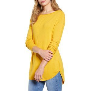 Caslon Shirttail Tunic Sweater Ballet Neck Exposed